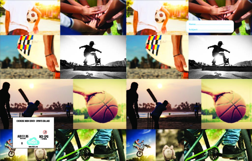 Exercise Book Cover - Sports Collage