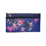 Rectangle Neoprene Pencil Case - Bow Skull